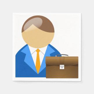 Servilletas de papel del hombre de negocios y de