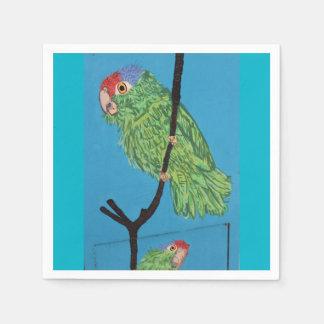 servilletas de papel del loro verde