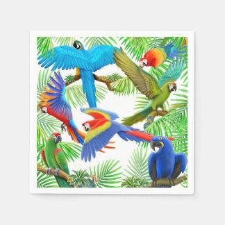Servilletas de papel del Macaw de la selva tropica