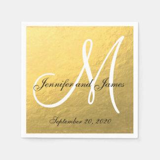 Servilletas de papel del oro del monograma elegant