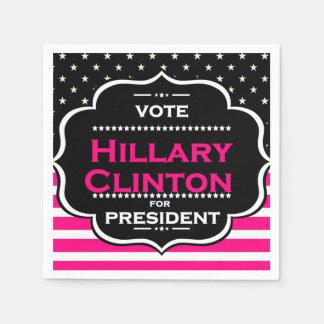 servilletas de papel rosadas de hillary Clinton