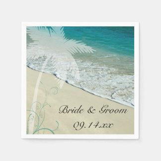 Servilletas de papel tropicales del boda de playa