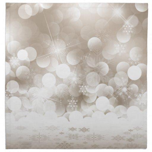 Servilletas de plata de los copos de nieve del nav