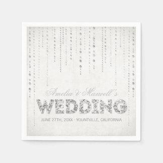 Servilletas de plata del boda de la mirada del servilletas desechables