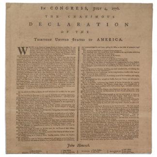 Servilletas del paño de la Declaración de Independ