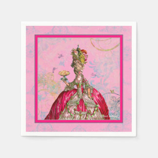 Servilletas del rosa del pavo real de Marie Antoni