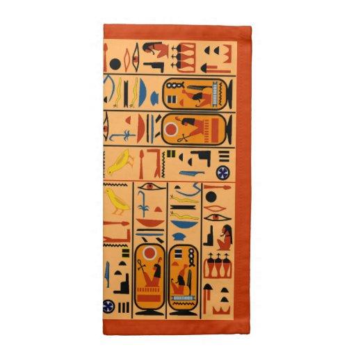 Servilletas egipcias de los Hieroglyphics del Egyp