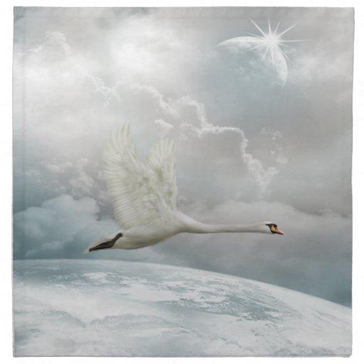 Servilletas elegantes del cisne en vuelo