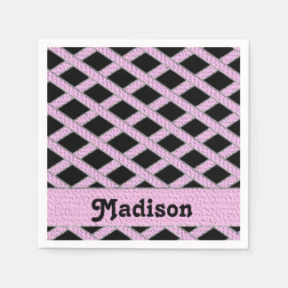 Servilletas entrecruzadas del monograma del rosa y servilleta de papel