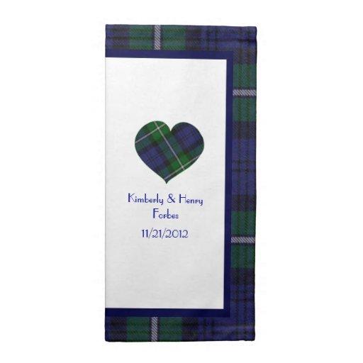 Servilletas escocesas del boda de la tela escocesa