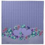 Servilletas florales azules del damasco de los