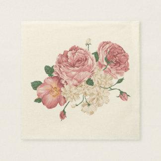 Servilletas florales color de rosa y blancas servilletas desechables