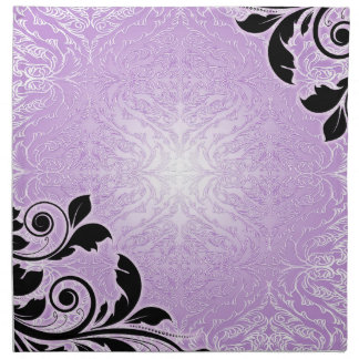 Servilletas florales del damasco de la lavanda rom