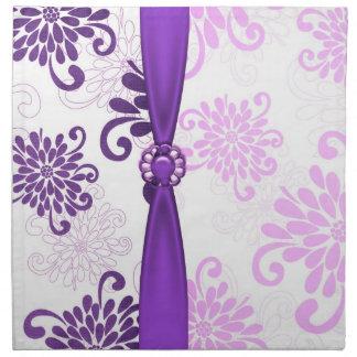 Servilletas florales violetas elegantes de la cint