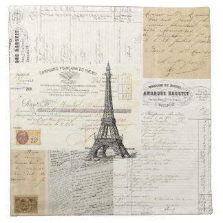 Servilletas francesas de las Ephemeras de París de
