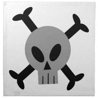 Servilletas grises del cráneo y de la bandera pira