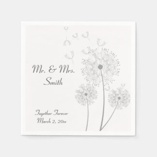 Servilletas grises y blancas del boda del diente servilletas de papel