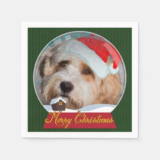 Servilletas lindas del navidad de Santa Terrier Servilletas Desechables