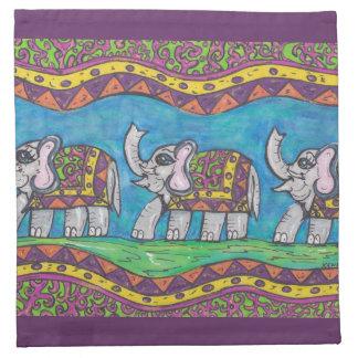 Servilletas maravillosas del desfile del elefante