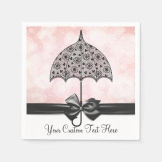 Servilletas negras de la ducha rosada del paraguas servilletas desechables