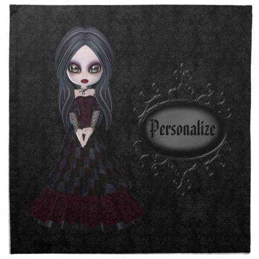Servilletas negras personalizadas chica lindo del
