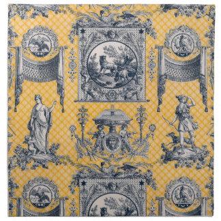 Servilletas neoclásicas francesas azules y amarill