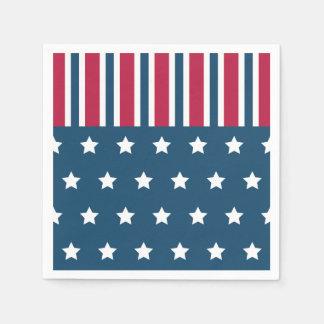 Servilletas patrióticas de las rayas de las servilleta desechable