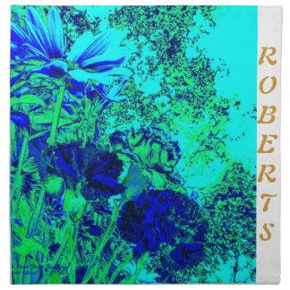 Servilletas personalizadas florales del verde azul