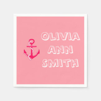 Servilletas personalizadas náuticas rosadas del servilleta de papel