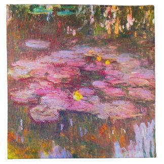 Servilletas púrpuras de los lirios de agua de Mone