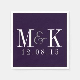 Servilletas púrpuras del boda del monograma del servilleta de papel