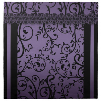 Servilletas púrpuras del modelo de la voluta de la