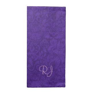 Servilletas púrpuras elegantes del paño del monogr