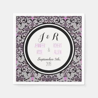 Servilletas púrpuras y de plata negras del boda servilleta desechable