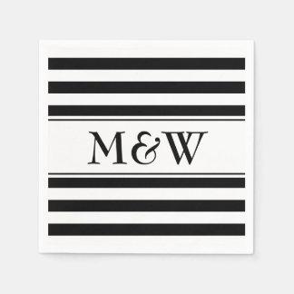 Servilletas rayadas blancos y negros de lujo para servilletas de papel