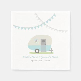 Servilletas retras azules del boda del remolque servilleta de papel