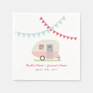 Servilletas retras rosadas del boda del remolque servilleta de papel