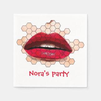 Servilletas rojas de los labios servilleta de papel