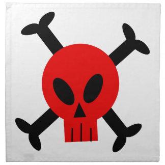 Servilletas rojas del cráneo y de la bandera pirat