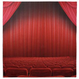 Servilletas rojas del teatro de la cortina
