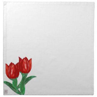 Servilletas rojas del tulipán