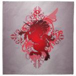 Servilletas rojas del unicornio de la fantasía urb
