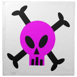 Servilletas rosadas del cráneo y de la bandera pir