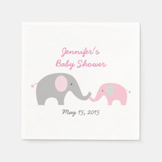 Servilletas rosadas del elefante de Chevron Servilletas Desechables