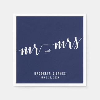 Servilletas simples del boda de los azules marinos servilletas desechables