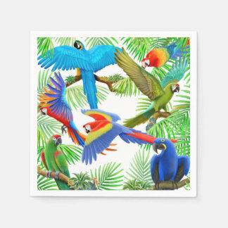 Servilletas tropicales de la selva del loro del servilletas desechables