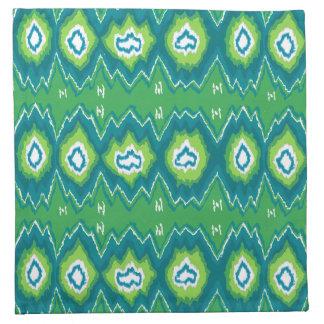 Servilletas verdes de lino de Ikat