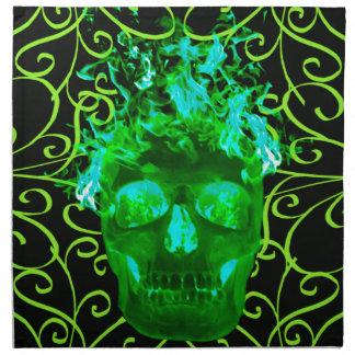 Servilletas verdes del cráneo del fuego