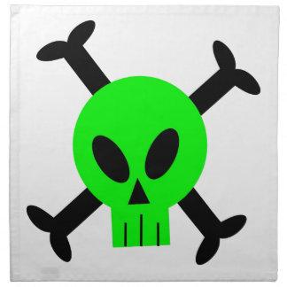 Servilletas verdes del cráneo y de la bandera pira