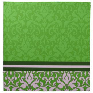 Servilletas verdes florales de lujo del damasco